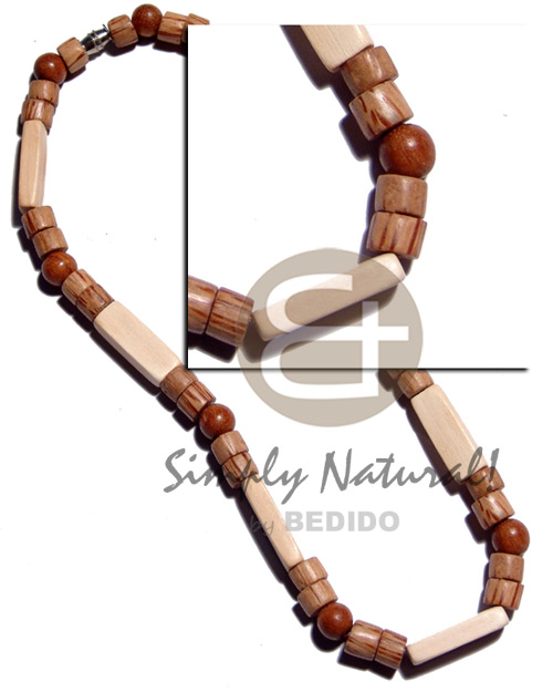 8mm cylinder palmwood 8mm round wood Natural Earth Color Necklace