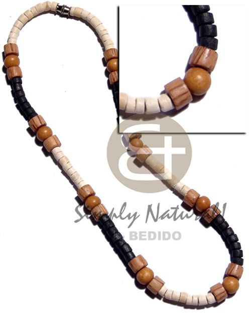 4-5mm coco heishe bleach and Natural Earth Color Necklace