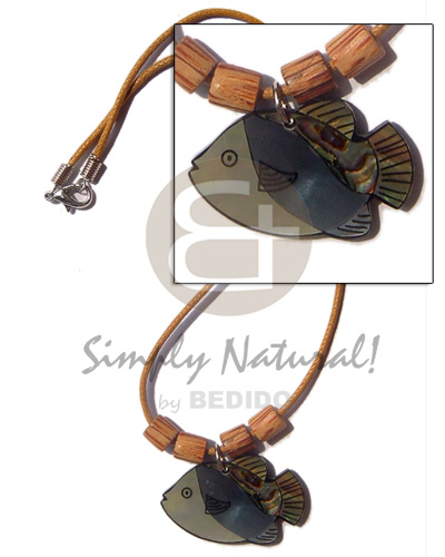 Fish pendant inlay amber Natural Earth Color Necklace