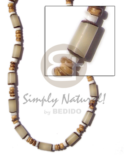 hand made White buri tube 4-5 Natural Earth Color Necklace