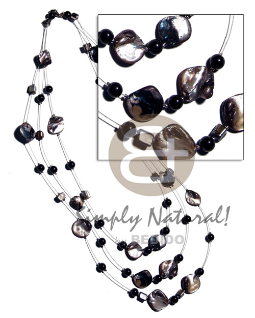 Floating black kabibe shell nuggets Natural Earth Color Necklace