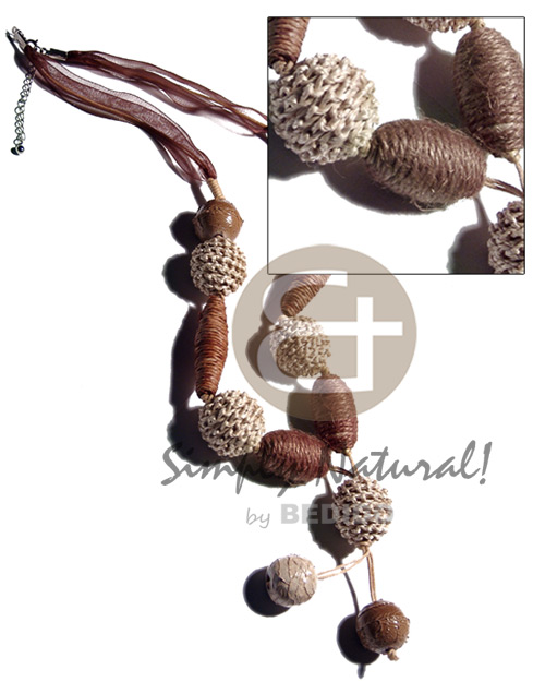 Tassled asstd. rope wrapped wood Natural Earth Color Necklace