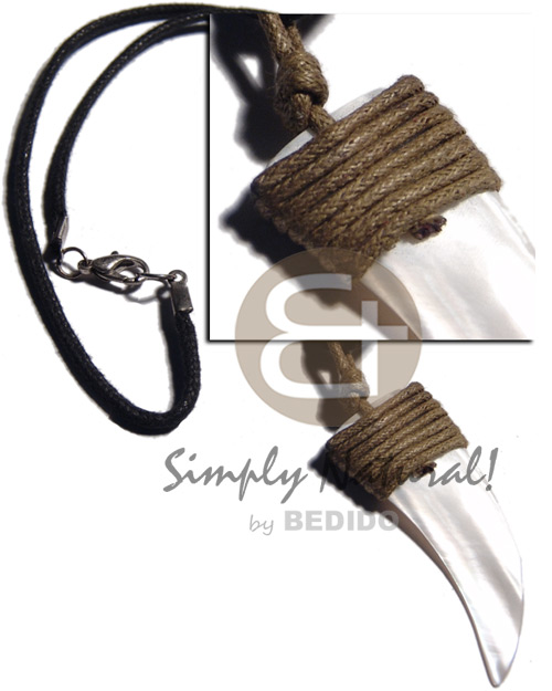 50mmx20mm kabibe shell fang pendant Natural Earth Color Necklace