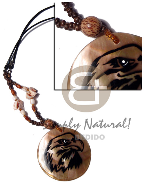 50mm brownlip pendant handpainted Natural Earth Color Necklace