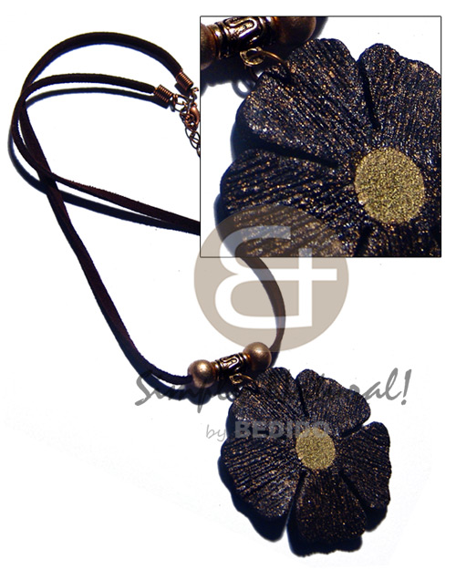 50mm flower black textured painted Natural Earth Color Necklace
