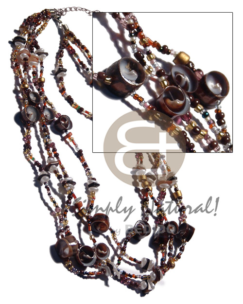 4 layers glass beads Natural Earth Color Necklace