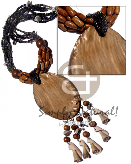 5 layers black glass beads Natural Earth Color Necklace