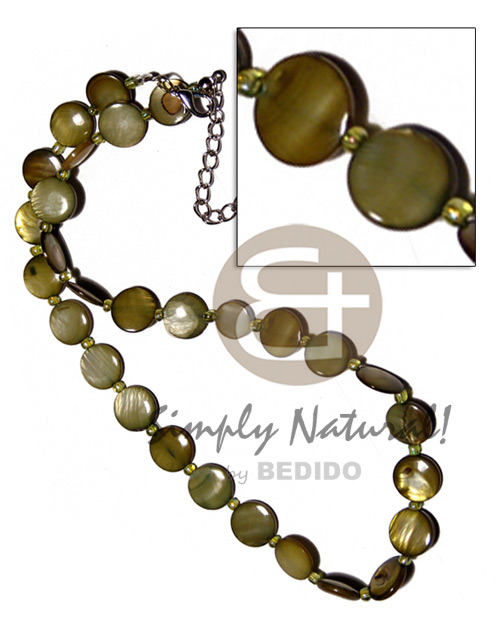 hand made Laminated 10mm round kabibe shells Natural Earth Color Necklace