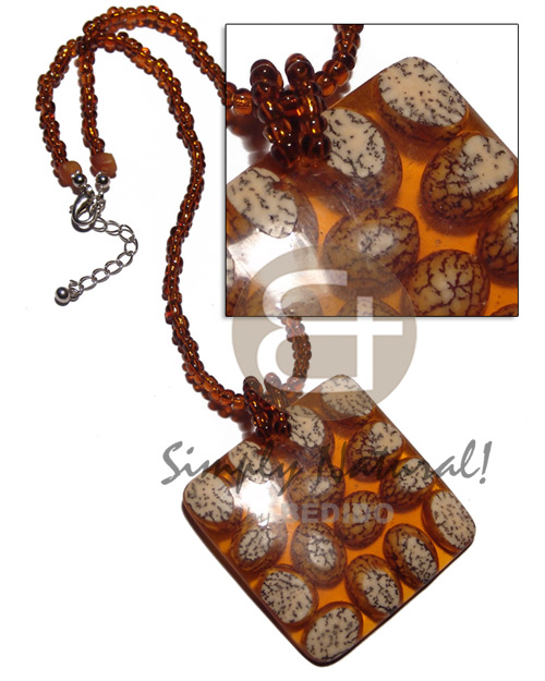Amber glass beads square Natural Earth Color Necklace