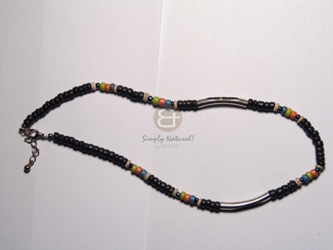hand made 3 layers black glass beads Natural Earth Color Necklace