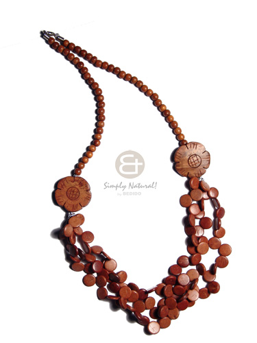 2 rows coco pokalet bleach black Natural Earth Color Necklace