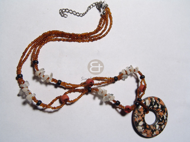 hand made 6mm natural wood beads Natural Earth Color Necklace