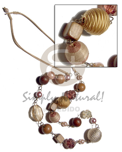 2 layers wax cord   asstd. wood beads, pearls, wrapped and crystal  accent in metal links / 34in - Natural Earth Color Necklace