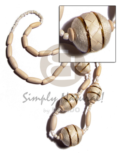 hand made Natural white wood capsules Natural Earth Color Necklace