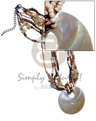 45mm round mop shell pendant Natural Earth Color Necklace