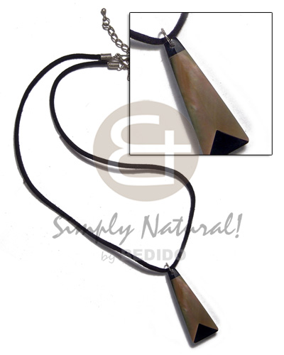 Black leather thong mop Natural Earth Color Necklace