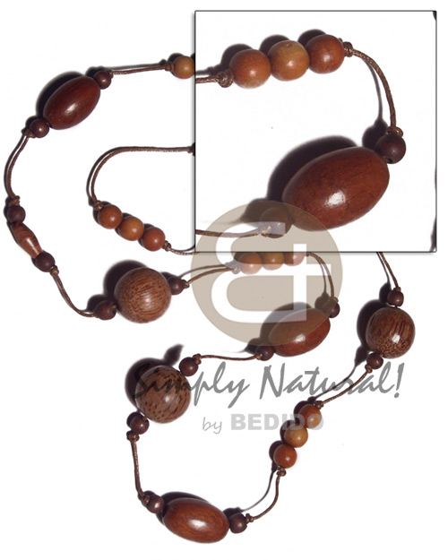 4 pcs. oval bayong 15mmx25mm / 3pcs 20mm palmwood beads in knotted brown wax cord / 38in adjustable - Natural Earth Color Necklace