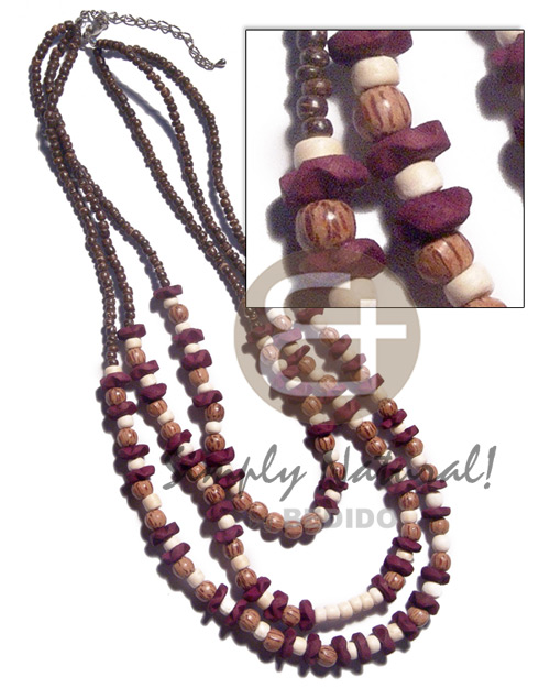 3 graduated rows of 2-3mm Natural Earth Color Necklace