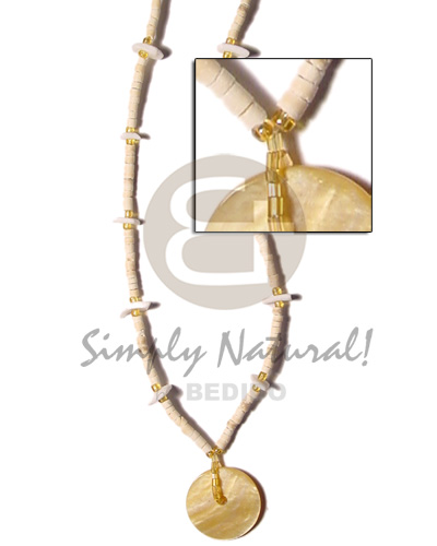 2-3 coco heishe bleach Natural Earth Color Necklace