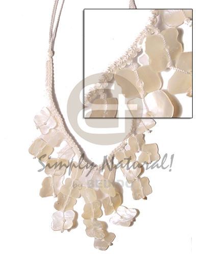 hand made Ivory white dangling hammershell macramie-cleopatra Natural Earth Color Necklace