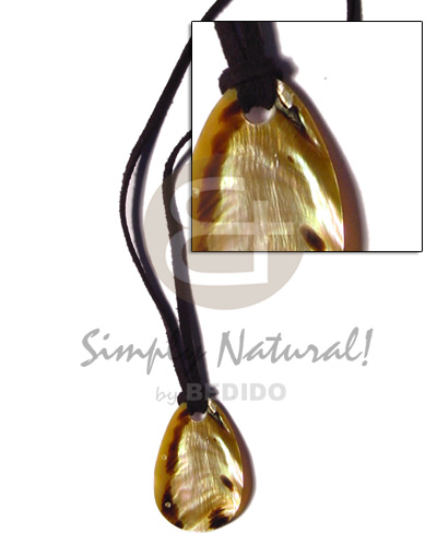 Leather thong 35mm teardrop Natural Earth Color Necklace