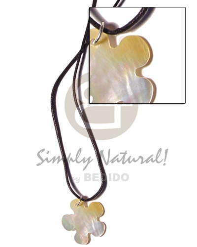 Cord 30mm mop flower Natural Earth Color Necklace
