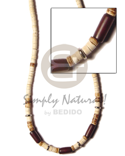 4-5 coco heishe bleach Natural Earth Color Necklace