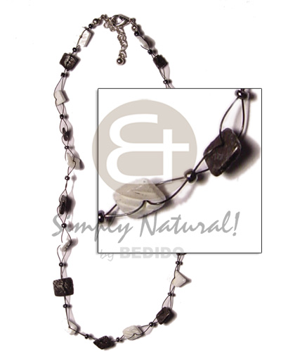 Floating square cut black and Natural Earth Color Necklace