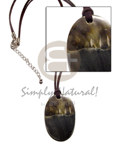 Black wax cord oval Natural Earth Color Necklace