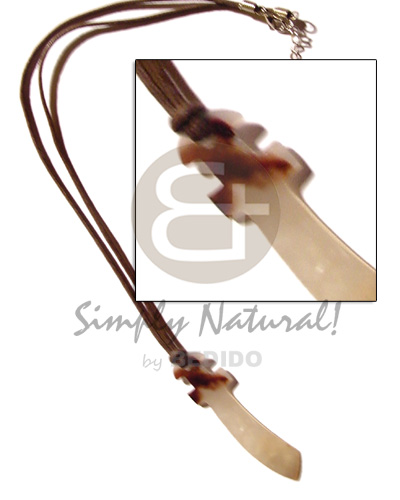 Leather thong 35mm hammershell Natural Earth Color Necklace