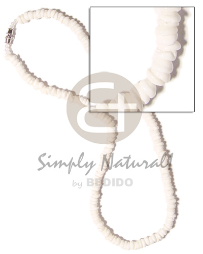 hand made Grinded white puka shell class Natural Earth Color Necklace