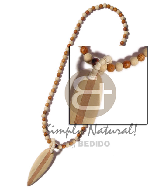 Bayong and natural wood beads Natural Earth Color Necklace