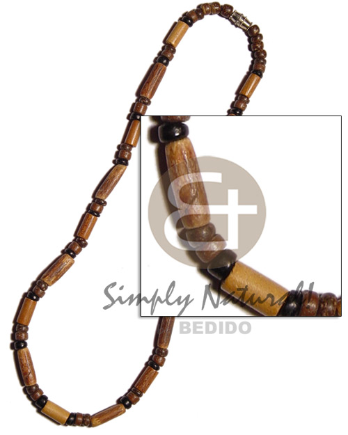Sigid wood tube 4-5mm coco Natural Earth Color Necklace