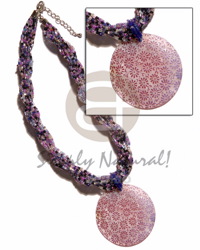 12 rows lavender mixed twisted Necklace with Pendant