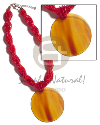 12 rows red twisted glass Necklace with Pendant