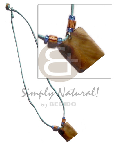 30mm rectangular brownlip wood Necklace with Pendant