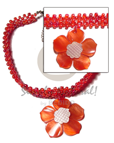 Red glass beads flat choker Necklace with Pendant