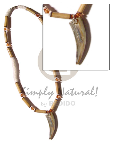 Bamboo white clam heishe Necklace with Pendant