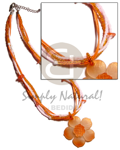 hand made 4 layer white and orange Necklace with Pendant