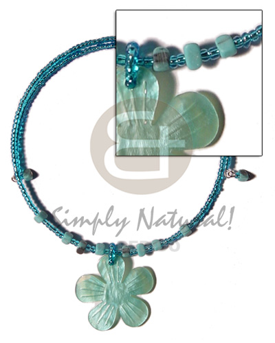 Aqua blue glass beads wire Necklace with Pendant