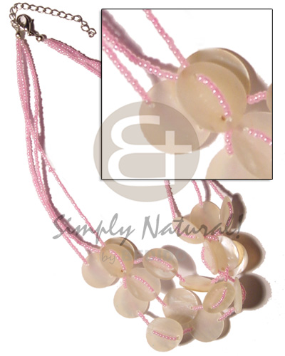 3 rows pink glass beads Necklace with Pendant