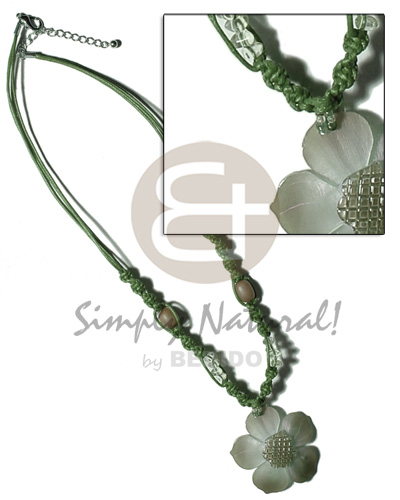 2 layer knotted dark green Necklace with Pendant