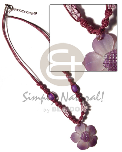 2 layer knotted subdued maroon Necklace with Pendant