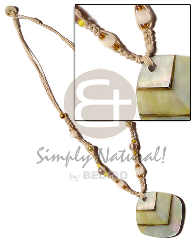 Macrame bead accent and Necklace with Pendant