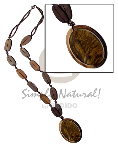 50mm oval blacklip inlaid in Necklace with Pendant