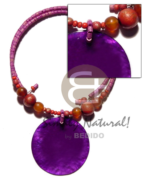 hand made Lavender 2-3mm coco heishe choker Necklace with Pendant