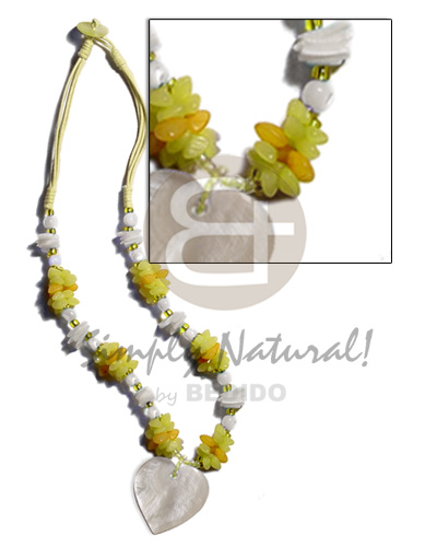 hand made Yellow 3 layer wax cord Necklace with Pendant