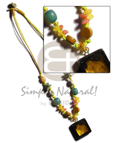 Buri seeds in yellow double Necklace with Pendant