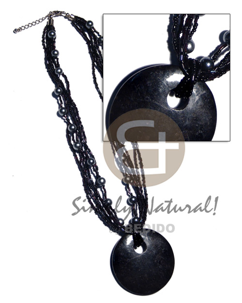 6 rows black glass beads Necklace with Pendant