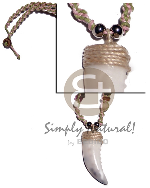 50mmx15mm cowrie shell fang pendant Necklace with Pendant
